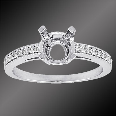 PPD65-1 Vintage inspired single row Pave set diamond platinum semi mount