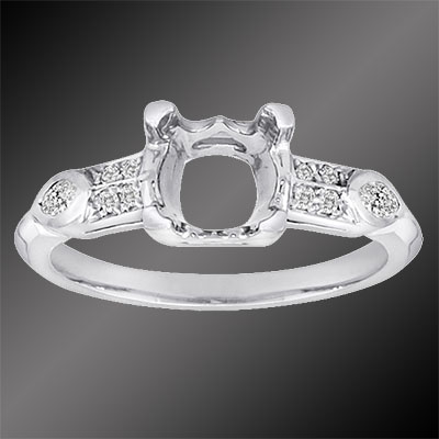 PPD67-1 Vintage inspired fancy marquise diamond and Pave set diamond platinum semi mount