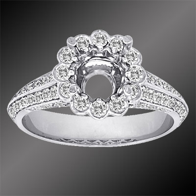 PPD76-1 Vintage inspired Pave set diamond platinum halo head semi mount