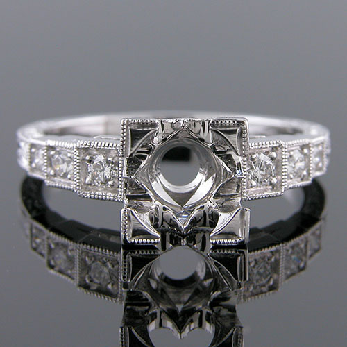 PPD79-1 Art Deco reproduction three step Pave set diamond platinum engagement ring semi mount