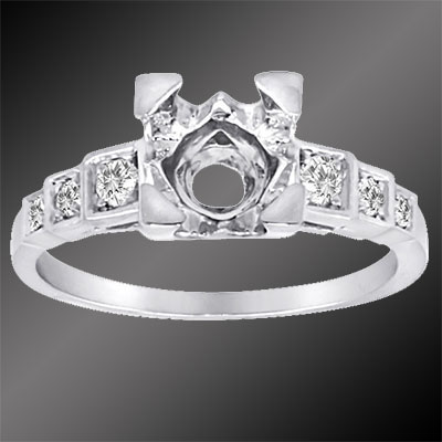 PPD79-1 Art Deco Pave set diamond platinum stepped semi mount