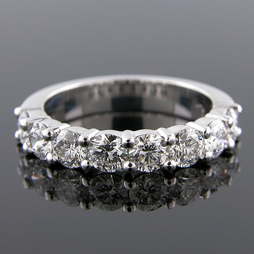 PPD152W-101P Sleek 8 stone large diamond platinum half-stone wedding band
