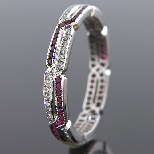 545S-320P Thin Art Deco geometric interwoven dual channel ruby and diamond Mini Mania series