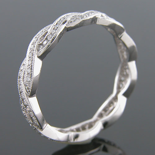 546S-101P Thin Art Deco woven design Micro Pave set diamond Mini Mania series platinum eternity wedding band