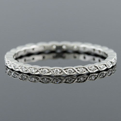 725S-101P Ultra thin Pave set diamond Mini Mania series shaped platinum eternity band