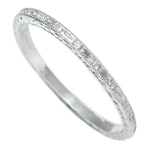 055B-103 Ultra thin alternating French cut baguette diamond and round diamond engraved platinum wedding eternity band
