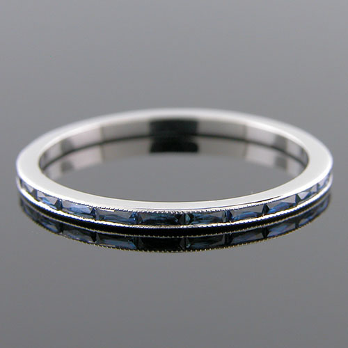 055BG-420P Ultra thin channel set fancy French cut baguette blue sapphire platinum wedding eternity band