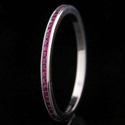 055FC-320P Ultra thin channel set fancy French cut square ruby platinum wedding eternity band