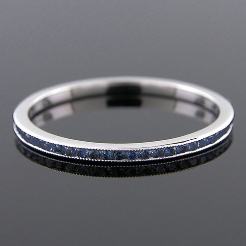 055-401P Ultra thin channel set round blue sapphire platinum wedding eternity band