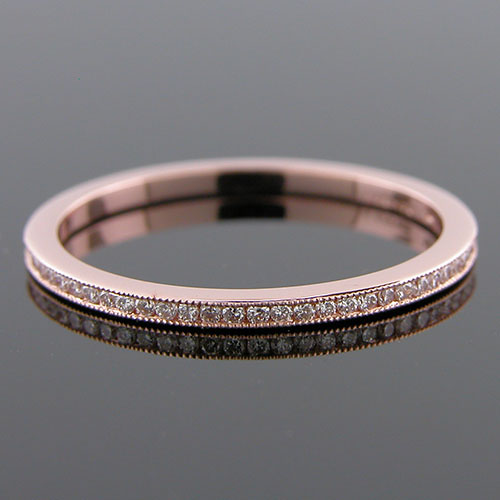 055P-101P Ultra thin channel set round diamond 18K pink gold wedding eternity band