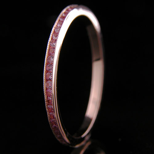055P-601P Ultra thin channel set round pink sapphire 18K pink gold wedding eternity band