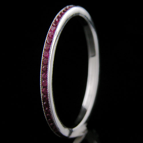 055-301P Ultra thin channel set round ruby platinum wedding eternity band