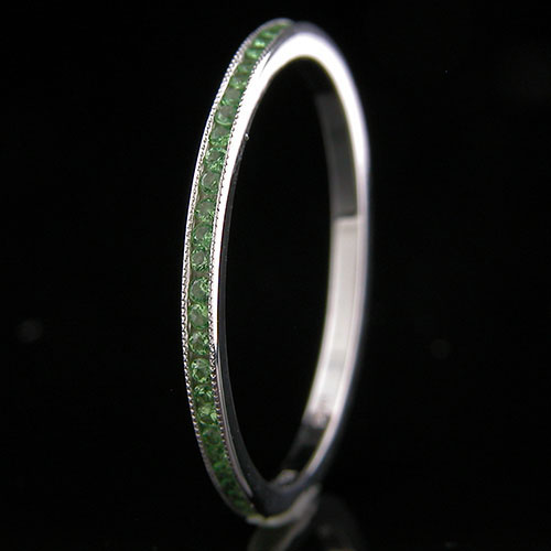 055-201P Ultra thin channel set round tsavorite garnet platinum wedding eternity band
