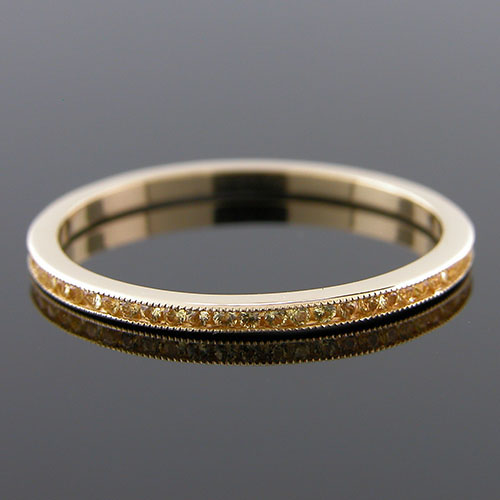 055Y-501P Ultra thin channel set round yellow sapphire18K yellow gold wedding eternity band