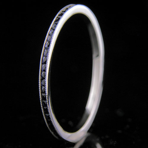 055FC-420P Ultra thin channel set square French cut blue sapphire platinum wedding eternity band