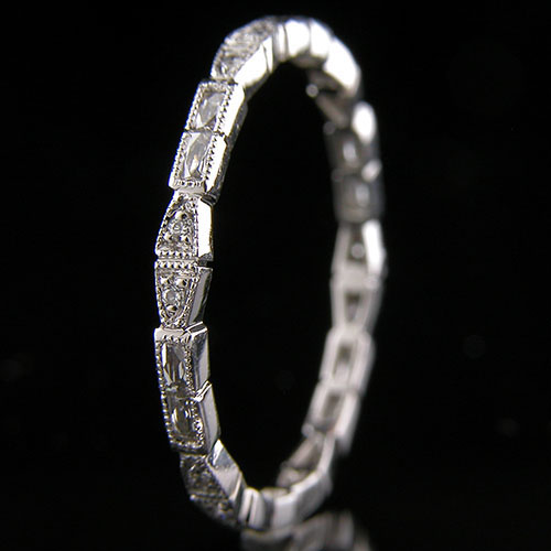 722S-103P Ultra thin fancy shaped French cut baguette diamond and diamond platinum eternity wedding band