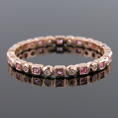 700SP-620P Ultra thin fancy shaped French cut pink sapphire and diamond 18k pink gold Mini Mania