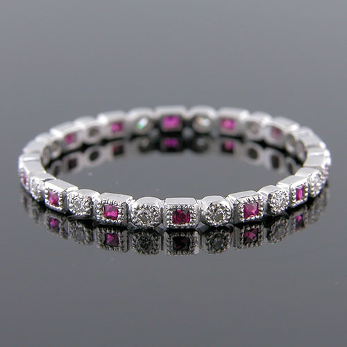 700S-320P Ultra thin fancy shaped French cut ruby and diamond platinum Mini Mania