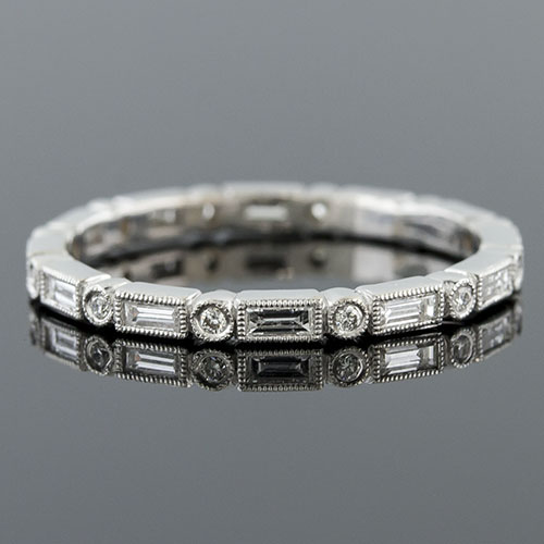 780S-102P Ultra thin fancy shaped baguette diamond and diamond Mini Mania series platinum eternity band