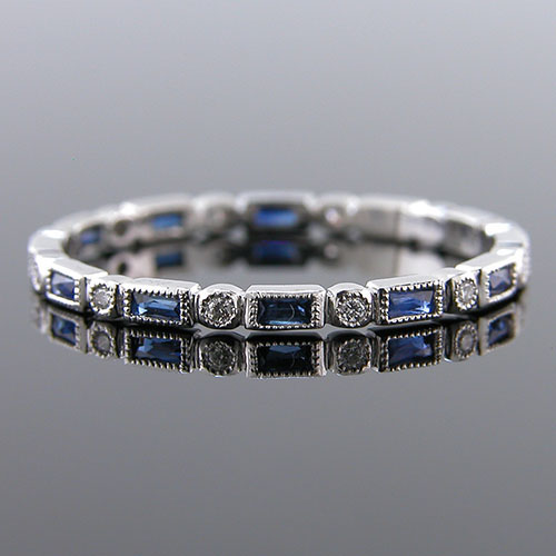 780S-420P Ultra thin fancy shaped baguette sapphire and diamond Mini Mania series