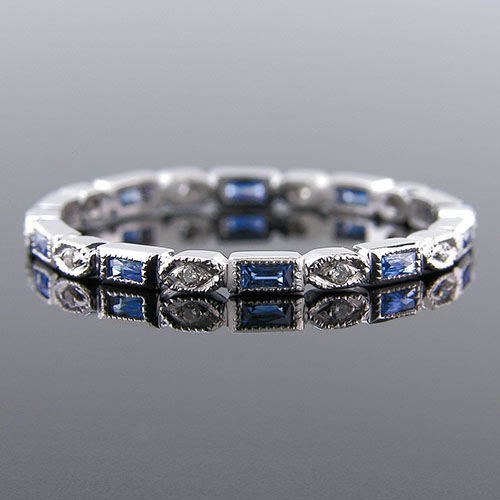 781S-420P Ultra thin fancy shaped baguette sapphire and diamond Mini Mania series