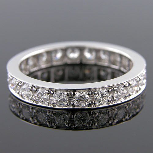PPD100S-101P Vintage-style Pave set diamond platinum high polish eternity wedding band