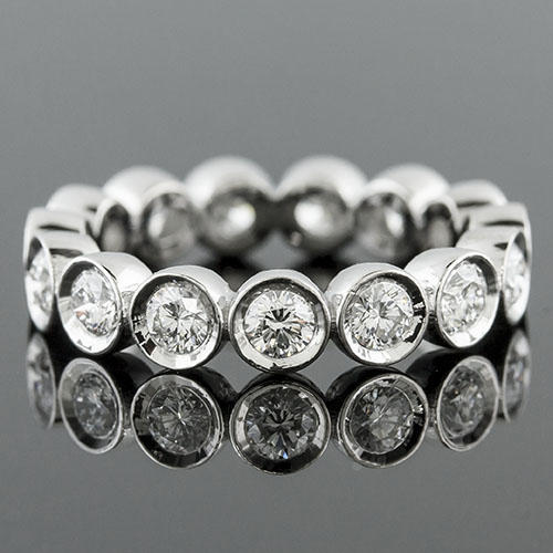 800L-101 Vintage Modern bezel set diamond platinum high polish wedding eternity band