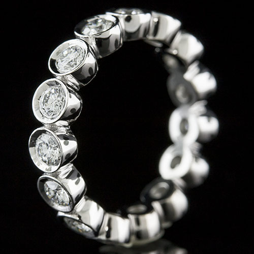 800L-101 Vintage Modern bezel set diamond platinum high polish wedding eternity band - Click Image to Close
