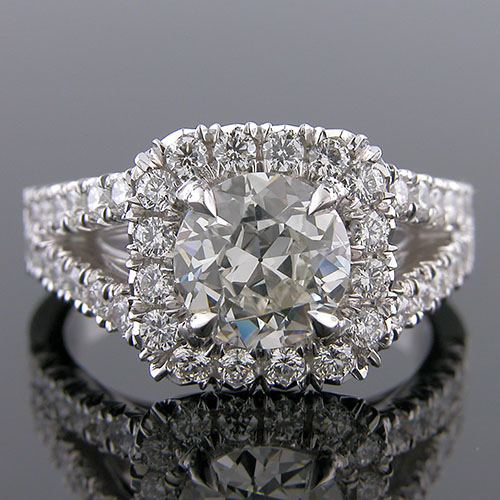 1296-1 Vintage inspired modern split shank Groove set diamond platinum semi-mount