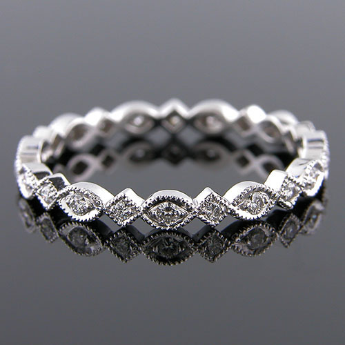 743-101P Vintage style Pave set diamond platinum shaped wedding eternity band